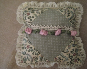 Handmade  Tiny Tooth Fairy Pillow with Paisley and Rosebuds