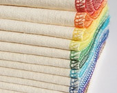 Organic Cloth Wipes or Wash Cloths - SPECTRUM - 12 Pack - Rainbow Washable Reusable Baby Wipes Washcloths