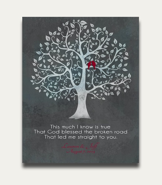 Wedding Gift For Couple You Donot Know Well : Personalized Name Tree Love Birds Wedding Gift YOUR CUSTOM QUOTE ...
