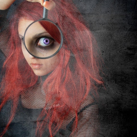 Magnify Conceptual Photograph. Original Fine Art Photography. sensual, female, contemporary, girl, surreal, black, red, purple eye