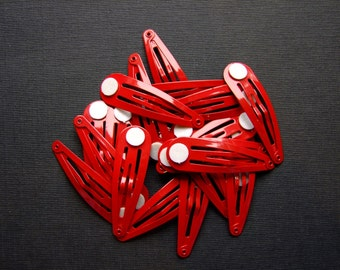 Snap Hair Clips With Pad - Red - Pack of 10