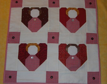 Four Angels : 100% Hand sewn patchwork wall hanging