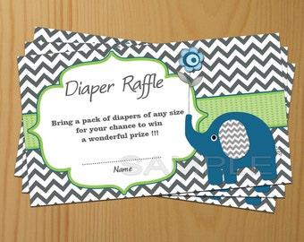 Elephant Baby Shower Diaper Raffle Ticket Diaper Raffle Card Baby Shower Diapers Raffles Printable Digital Files (80b)
