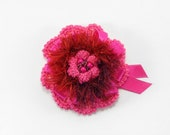 Crochet Flower Brooch - Pink / Red