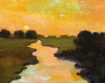 Custom original landscape oil painting, art, river scene, sunset, evening landscape, water, gold, black, aqua, green 8 x 10 - 48 x 60 canvas