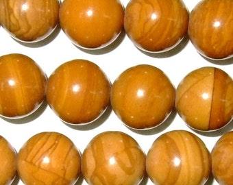 8mm Round Wood Jasper Beads Genuine Natural 15''L 38cm Loose Beads Semiprecious Gemstone Bead   Supply