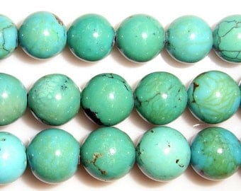 6mm Round Turquoise Beads Genuine Natural A Grade 15''L 38cm Loose Beads Semiprecious Gemstone Bead   Supply