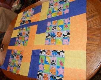 Finding Nemo, Nemo, Blue, Yellow, Orange, Fish, Disney, Quilt, Ready to Finish Quilt Top, Quilttop, Baby, Toddler,