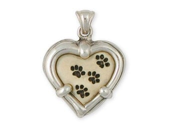 Sterling Silver and Ivory Polymer Dog Paw Pendant Jewelry  VW-P