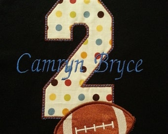 Football Birthday Number Shirt /Onesy with Applique Embroidery Name (Personalizing Included) Shirt Only
