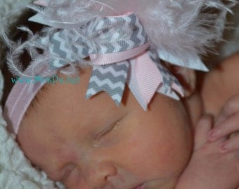 Over the top Chevron over the top hairbow mini pink and gray