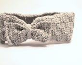 knitted ear warmer headband with bow in grey with sparkle
