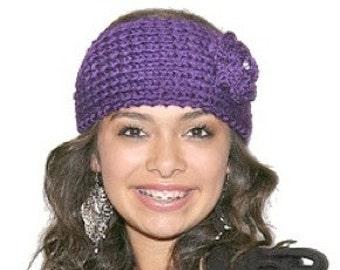 Knit Headband with Diamond Centered Flower-Handmade