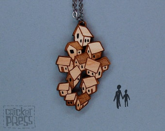 Houses - Wood Pendant Necklace