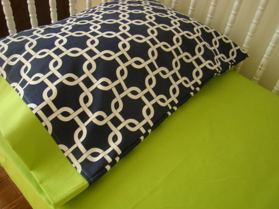 Items similar to toddler bedding pillow case sham navy - Navy blue and green bedding ...
