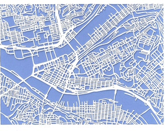 Pittsburgh -- cut paper map (print)