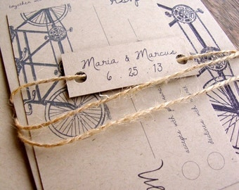 Tandem Bike Wedding Invitation, Eco Friendly, Tandem Bicycle Wedding Invitation, Rustic Wedding Invitation