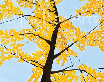 "Print of Original Oil Painting ""Fall Ginko"""