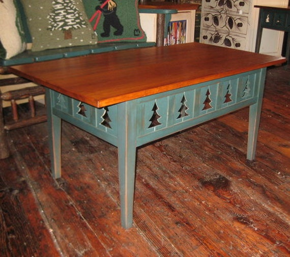 Cottage Style Coffee Table With Pine Tree By CottageSurroundings