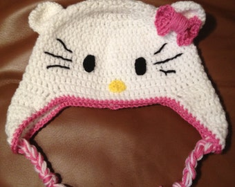 Pink and White Kitty Hat
