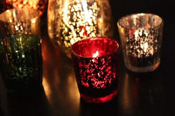 items similar to set of 10 ten red mercury glass candle holders votives votive vintage wedding. Black Bedroom Furniture Sets. Home Design Ideas
