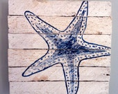 Blue painted starfish 12x12 - reclaimed wood from Sandy homes