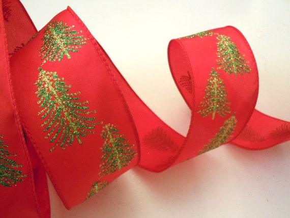 Wired Christmas Ribbon Decorations Sparkle Green Christmas
