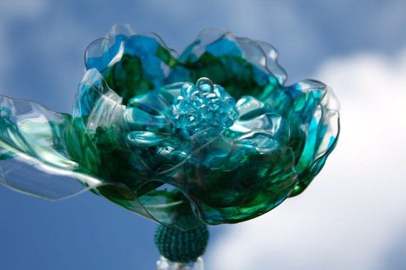 Peacock Brooch Bouquet jeweled wedding wand, Chihuly inspired, bridal, heart, Tiffany blue,  teal, turquoise flower,