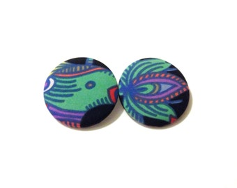 Psychedelic Rainforest Fabric Button Earrings Size Extra Extra Large