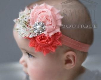 Baby girl headband,coral pink Baby headband, vintage headband, shabby chic roses headband, headband