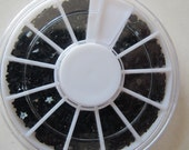 OD-86 3D 1 Wheel 12 Types Black Resin Rhinestone Decoration in wheel Shiny Nail Decoration