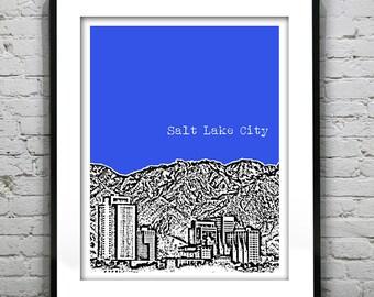 Salt Lake City Utah Poster Print Art Skyline  UT Version 1