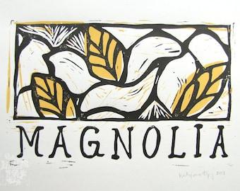 Magnolia Linocut Block Print