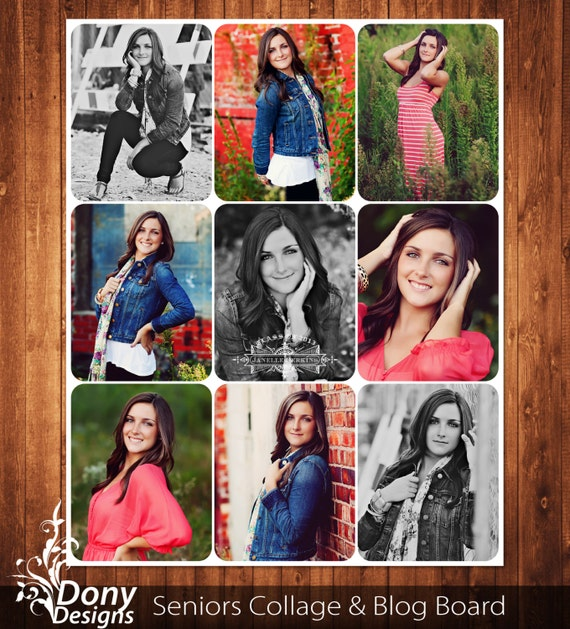 senior photo collage templates - buy 1 get 1 free seniors blog board 16x20 collage template