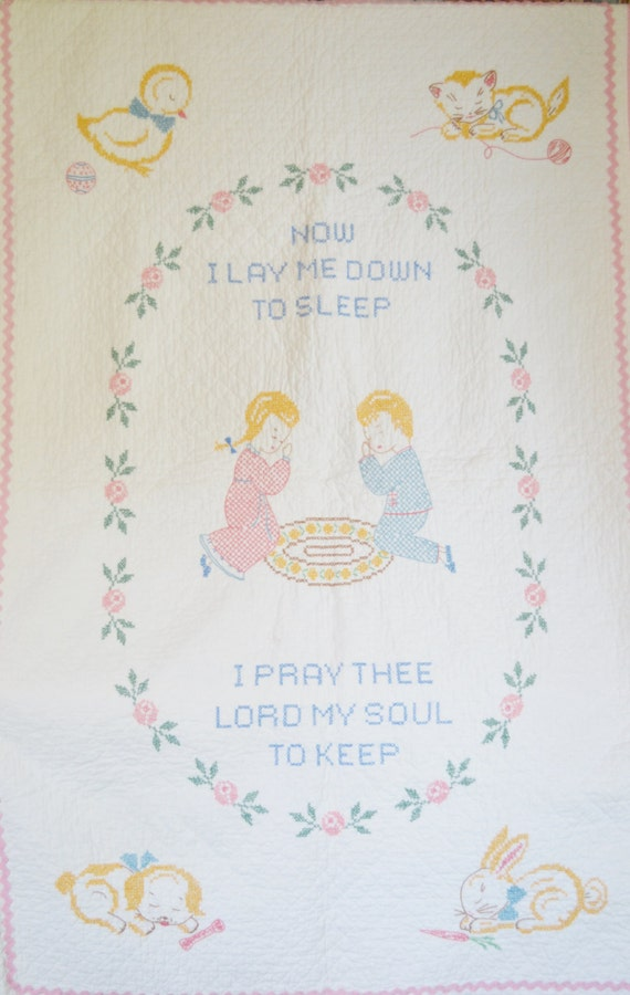Vintage Baby Quilt Handmade Cross Stitch By