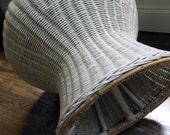 Mushroom Stool 60s Wicker Pouf In White