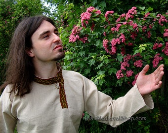 Medieval Shirt for reenactors, made of 100% linen, Rubacha, Middle Ages, Ruthenian costume, etno
