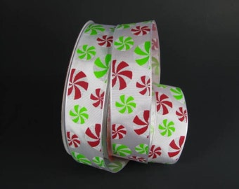 """1 1/2"""" Peppermint Candy Wire Edged Ribbon"""