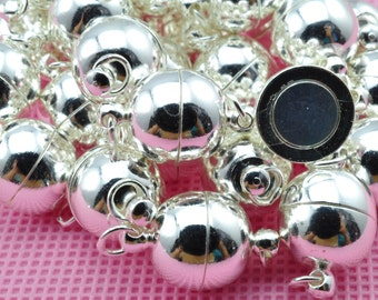 10 Sets of Silver plated Close Jump Rings Magnetic Clasp in 12mm wideX 23mm length