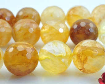 32 pcs of Citrine faceted round beads in 12mm