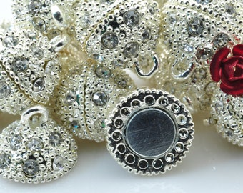 10 Sets of Silver plated Crystal Magnetic Clasp in 14mm