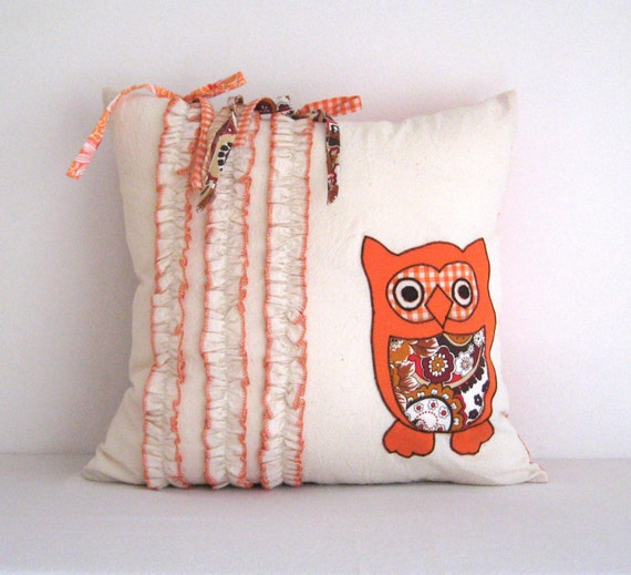 Owl orange ruffle decorative accent throw pillow cover case