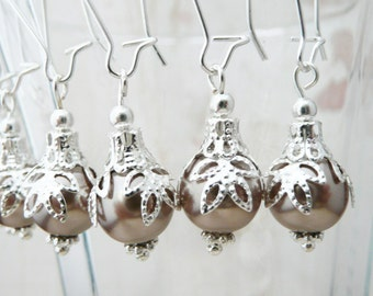 50% OFF Earrings, 4 pairs light coffee pearl Bridesmaids Dangle Earrings. No E220