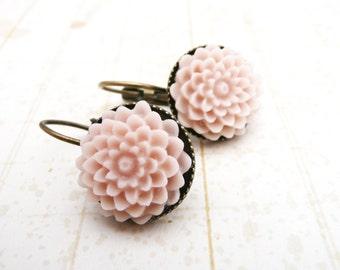 50% OFF Earrings, Pale Pink resin dahlia brass dangle earrinngs No. E224 1