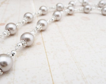 50% OFF Necklace, Silver and light coffee pearl necklace: No. N61 1