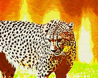 Cheetah in bright bold colors: art print of cheetah 8x10 wild cat abstract animal art African art