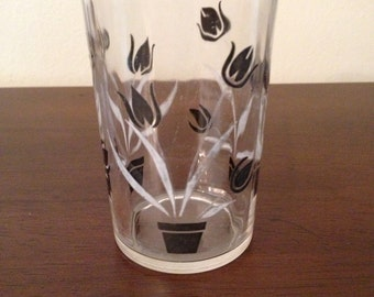 Vintage Swanky Swig Black & White Tulip Juice Glass