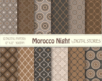 "Moroccan Digital Paper: ""MOROCCO NIGHT"" Brown Black Gray scrapbook paper pack with moroccan elements for invites, cards"