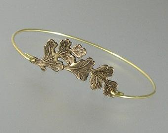 Oak Leaf Bangle Bracelet, Gold Bangle Bracelet, Oak Leaf Bracelet, Gold Bracelet, Gold bangle, Woodland Bracelet, Stacking Bangle (146G,)