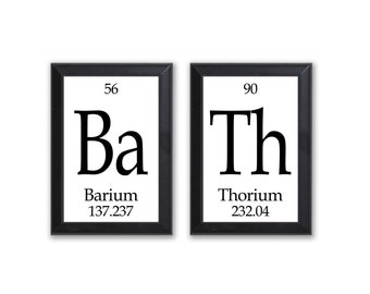 Bath Periodic Table Framed 2 Piece Wall Plaque Set